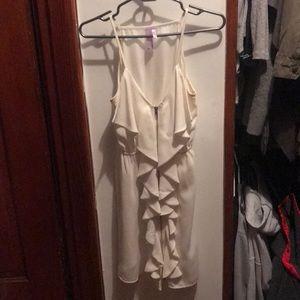 Francesca's white zip front dress ruffles